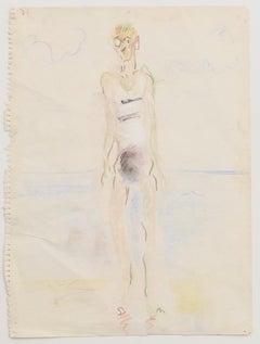 Bather - Original Pastel on Paper - Mid-20th Century