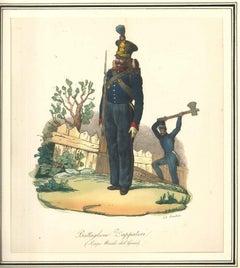 Battaglione Zappatori - Lithograph Mid 1800