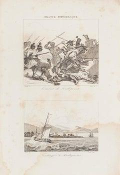 Battle - Original lithograph  - 19th Century