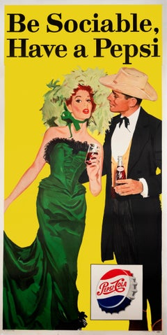 Be Sociable - Have a Pepsi 1950s Mad Men era original poster