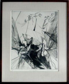 """Bird Migrations"" 1960s Monochromatic Etching on Paper"