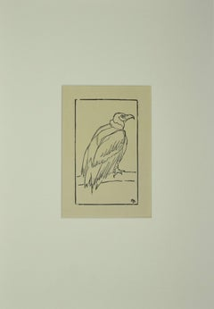 Bird - Original Woodcut - Early 20th Century