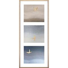 Birds of Flight, No. 3, gold leaf, framed