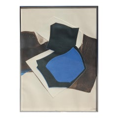 """Black and Blue Geometric Abstract Lithograph Signed """"Jonny"""""""
