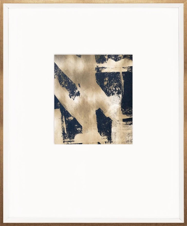 Black and Gold Abstracts, handmade, framed For Sale 2