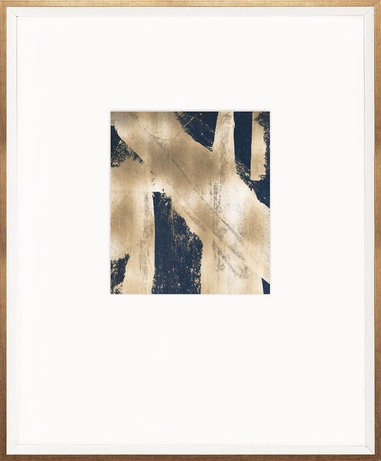 Part of our modern abstract series, these are one-of-a-kind, gold abstractions on a handmade paper that is then floated on large, spaced mat.  Black and Gold Abstracts will vary slightly in appearance.  +++Please allow for a 6 week lead time+++