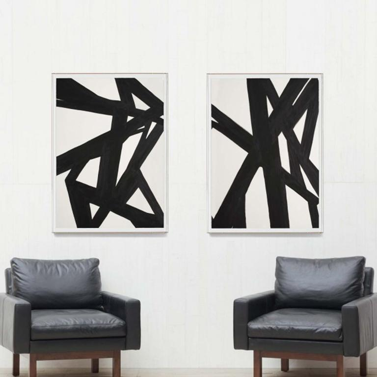 Black and White Abstract Painting, No. 2, giclee print, framed - Print by Unknown
