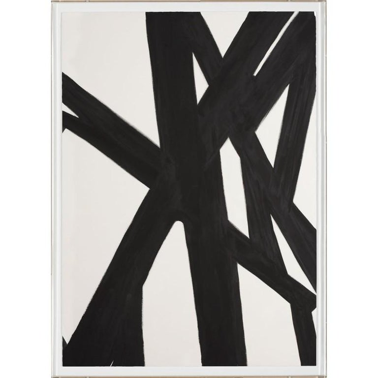 Unknown Abstract Print - Black and White Abstract Painting, No. 2, giclee print, framed