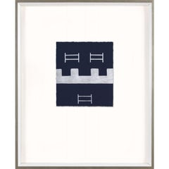 Blue and Silver Abstracts No. 8, painted, handmade paper, framed