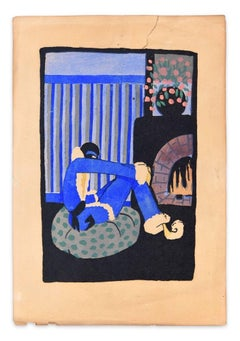 Blue Christmas - Woodcut Hand Colored in Tempera on Paper - Art Deco - 1920s
