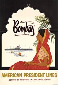 Bombay American President Lines original vintage cruise poster