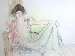 BOUDOIR POSE Signed Hand Colored Lithograph, Reclining Woman in Negligee, Pastel