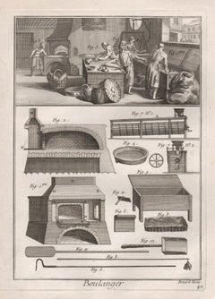 Boulanger (Baker), antique French bread engraving print, 1780