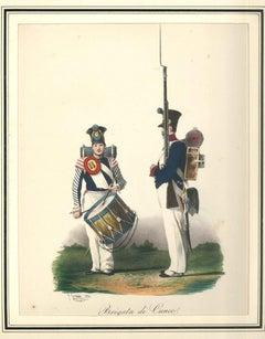 Brigata di Cuneo - Lithograph Mid 1800
