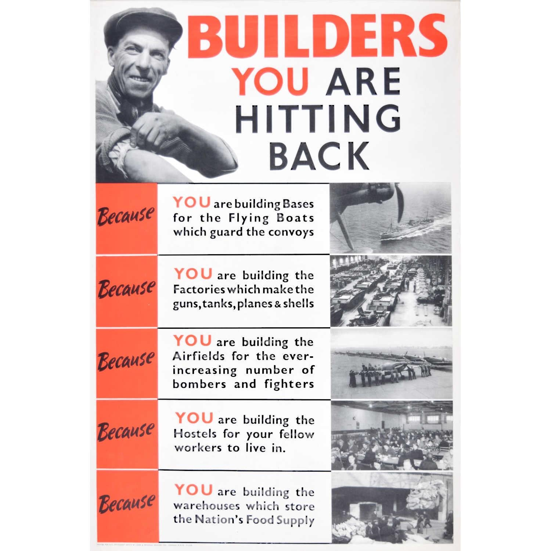 Builders YOU Are Hitting Back Original British WW2 Poster Spitfire Motivational