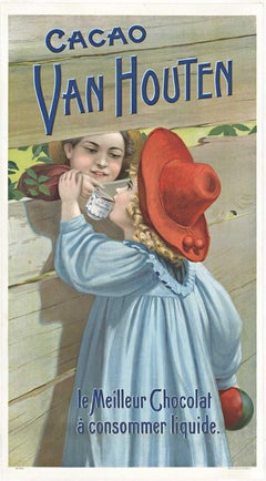 Cacao Van Houten original vintage French chocolate chromo-lithograph poster