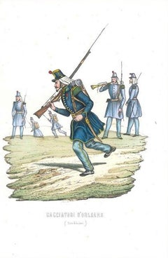 Cacciatori di Orléans (Orléans Hunters - Carabinieri) - Lithograph Mid 1800
