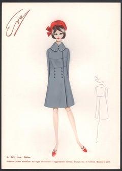 'Caline' Italian 1960s Women's Fashion Design Illustration