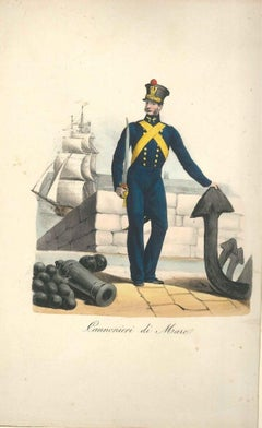 Cannonieri di Mare (Sea Gunner) - Original Lithograph Mid 19th Century