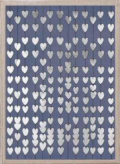 Cartier Heart Strings, silver leaf in navy, framed