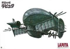 Laputa: Castle in the Sky Original Vintage Poster, Airship, Studio Ghibli