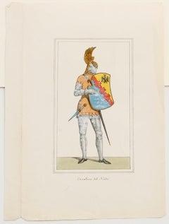 Cavalier - Original Hand-Color Lithograph - 19th Century