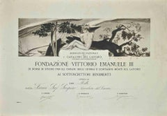 Certificate of the Vittorio Emanuele III Foundation - Original Etching - 1920s