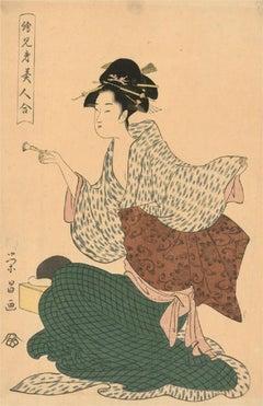 Chōkōsai Eishō (fl.1790) - 18thC Japanese Woodblock, Geisha With A Makeup