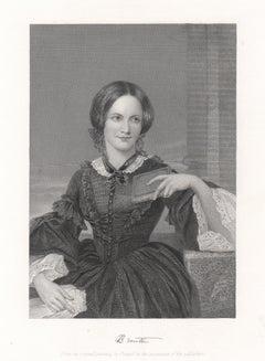 Charlotte Bronte, author, portrait engraving, c1870