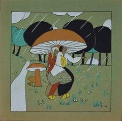 Children Finding Shelter under a Giant Mushroom - Original Woodcut