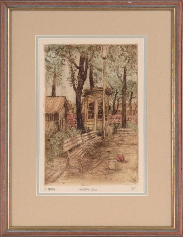 "Unknown Landscape Print - ""Children's Park"" - Etching - Artist's Proof"