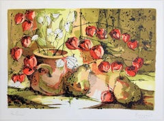 Chinese Lantern Flowers with Pears, Signed Lithograph, Fruit, Vase, Branches