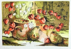 Chinese Lantern Flowers with Pears, Signed Lithograph, Lime, Yellow, Orange, Tan