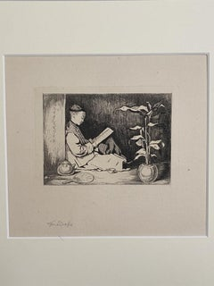 Chinese Reading - Original Etching - 19th Century