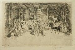Circus Original Etching Italian Artist signed 1957 Mid Century