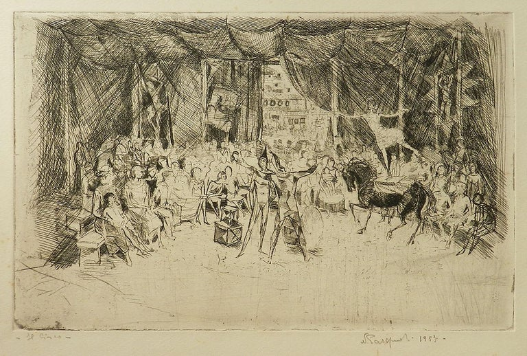 Circus etching, 1957, offered by Tryst d'Amour