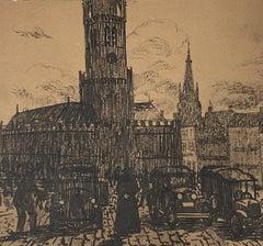 City Center - Original Lithograph - 19th Century
