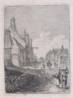 City with Travellers - Original Etching - 17th Century