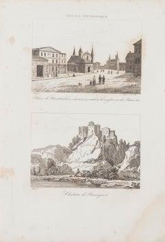 Cityscape in France - Original Lithograph - 19th Century