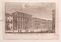 Cityscape of Genova - Original Etching on Paper - 18th Century