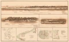 Civil War Map with Views from Fort Sumter and Charleston Harbor