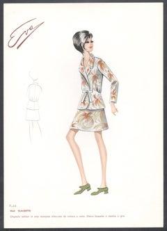 'Claudette' Italian 1960s Women's Fashion Design Illustration