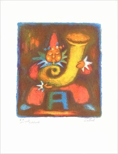 CLOWN TUBA PLAYER Signed Lithograph, Circus Clown Portrait, Red, Yellow, Blue