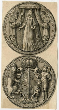 Collection of four print with depictions of English royal seals.