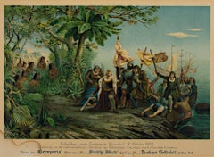 """Columbus Landing in America,"" Color Lithograph"