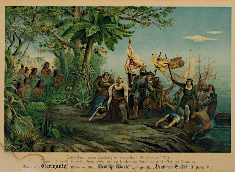 "Unknown Figurative Print - ""Columbus Landing in America,"" color lithograph"