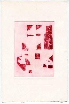 Composition in Red - Original Etching and Drypoint - Mid-20th Century