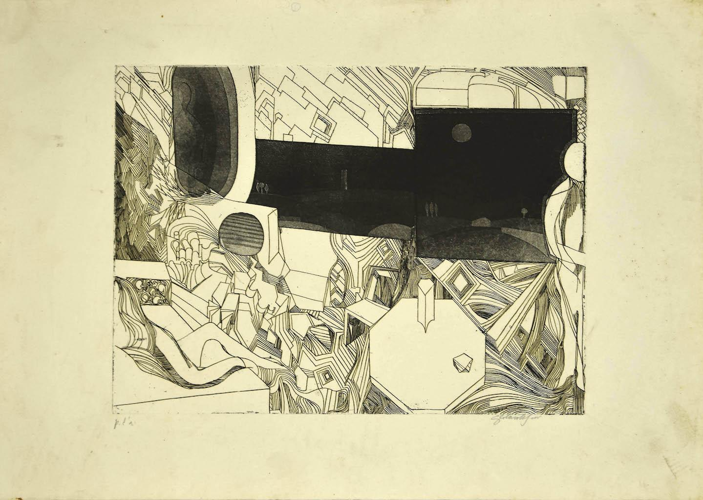 Composition - Original Etching on Paper - 1950s