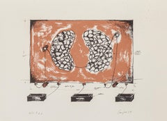 """Composition  - Original Lithograph on Cardboard signed """"Campus"""" - 1989"""