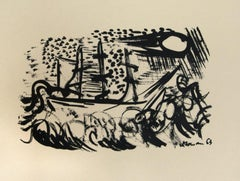 Composition - Original Lithograph on Paper - 1950s